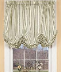 Ticking Stripes Balloon Curtain in Natural from Country Curtains for Enclosed Porch