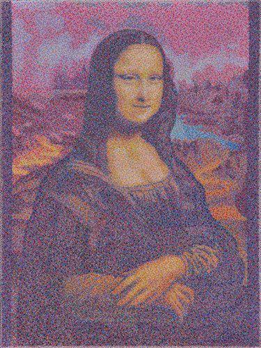 "#finearts, ""(#slowmade) leonardo: mona lisa"", 09. - 10. 2009, #pixelism - ca. 120.000 painted pixels, acrylic on canvas, 60 x 80 cm, ■ = 2 x 2 mm, (23.62"" x 31.50"", ■ = 0.08"" x 0.08""), painting time: 160 hours."