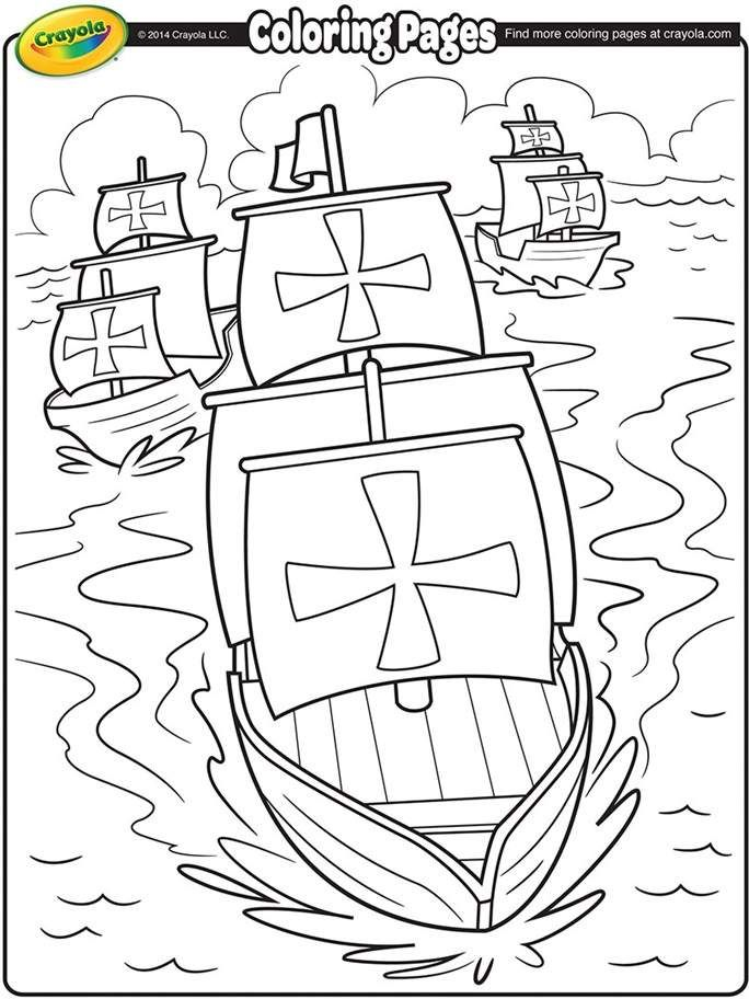 Columbus Day Coloring Page Christopher Columbus Coloring Pages
