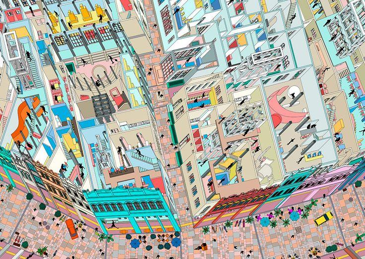 Isometric map by «Drawing architecture Studio» (China, Pekin-Beijing) with Li Han and Hu Yan (Qilou Old Street in Haikou)
