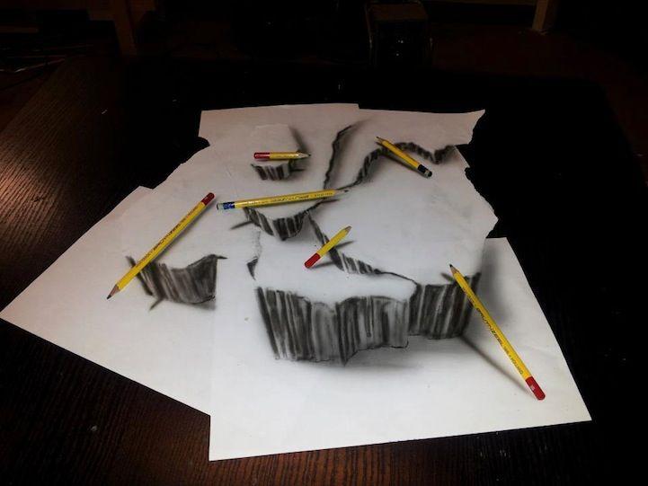 Mind-Boggling 3D Drawings on Flat Sheets of Paper - by Dutch artist Ramon Bruin, aka JJK Airbrush