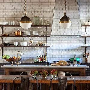 French bistro style - wood shelves, subway tiles to the top, tiled hood. rustic wood island, rustic farmhouse dining table, pendants.                                                                                                                                                                                 More