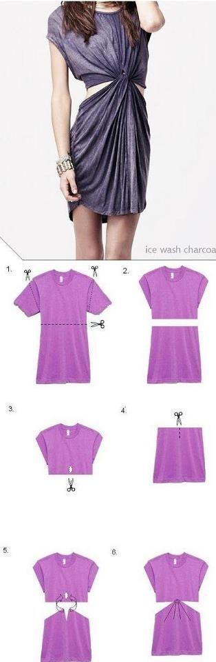 Transforme uma camiseta grande, em um vestido.