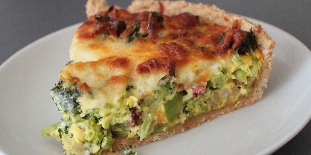 Broccolitærte med bacon
