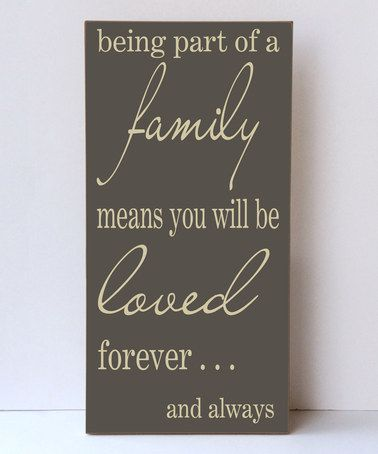 Dark Sparrow & Cream 'Being Part of a Family' Wall Sign #zulily #zulilyfinds