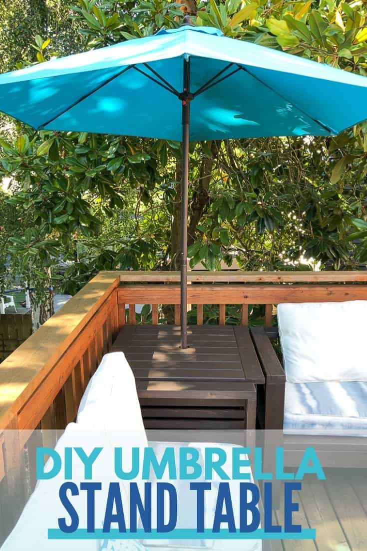 Diy Umbrella Stand Side Table With Free Plans Outdoor Umbrella Stand Offset Patio Umbrella Umbrella Stand