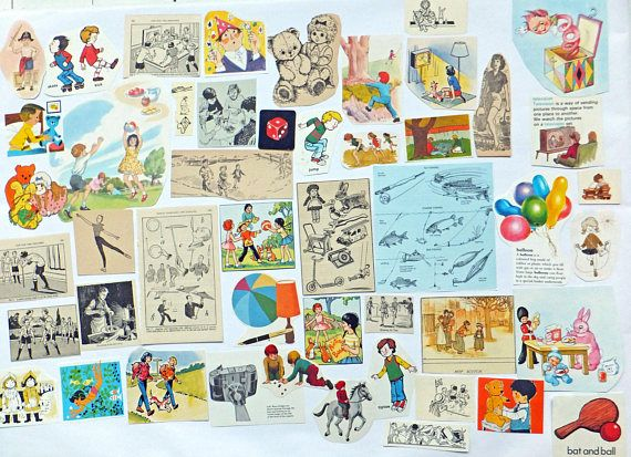 Vintage paper pack Fun and Games children's activities