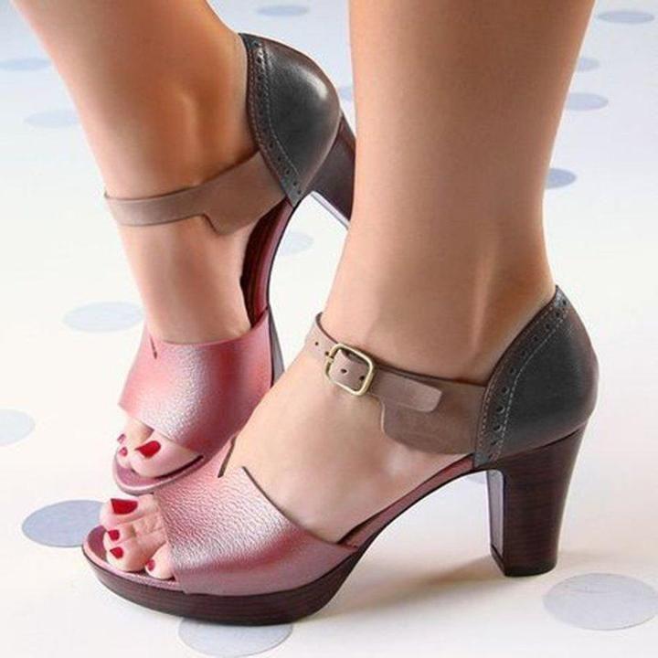 Details about  /Platform Heel Sandals Ankle Strap Buckle Multi-Color Womens Summer
