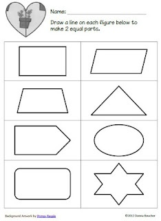 FREEBIE for sorting equal halves - fractions