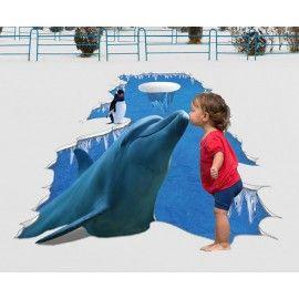 Décoration animation événementielle Revêtement de sol trompe l'œil 3D trou au sol - Le dauphin et le pingouin sur la glace
