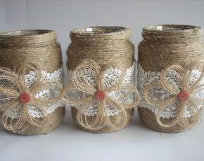 Rústico frasco tarro de arpillera boda, cordón y arpillera, arpillera central, decoración de boda rústica, decoración de casa país, tarros de boda