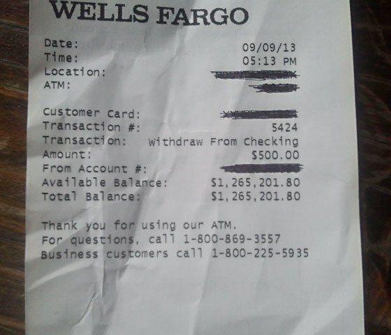 wells fargo million dollar receipt | Wells Fargo ATM Receipt with $1.2 million