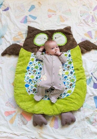 Adorable gender neutral owl play mat.