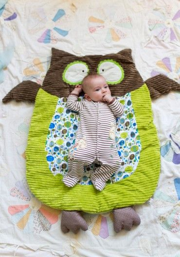 Hootie The Owl Nap Mat. Oh-so-soft and cuddly, this adorable green and brown owl will gently lull baby to sleep with a ribbed texture and wonderful vintage-inspired prints.