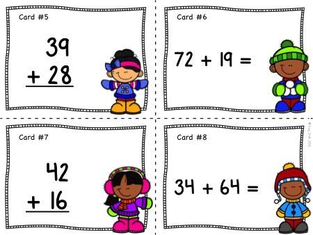 Two Digit Addition - Winter Themed Task cards for SCOOT, centers, or extra practice!