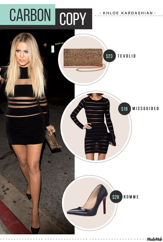 Khloe Kardashian's sheer, body con, velvet dress with stiletto heels.
