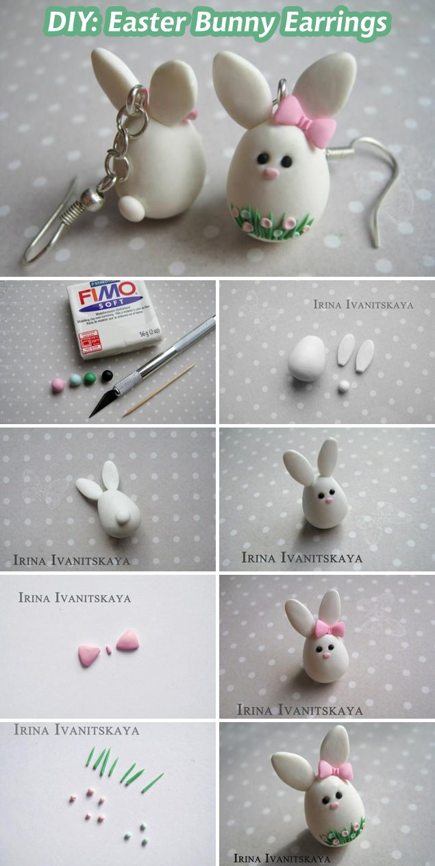 DIY: Easter Bunny Earrings (polymerclay). See more: www.livemaster.ru... #diy…