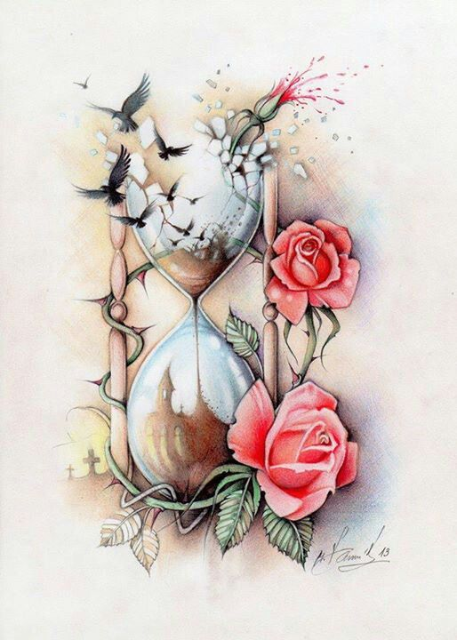 Rosemary.. draw something like this for me except needs a clock and daffodils instead of roses.