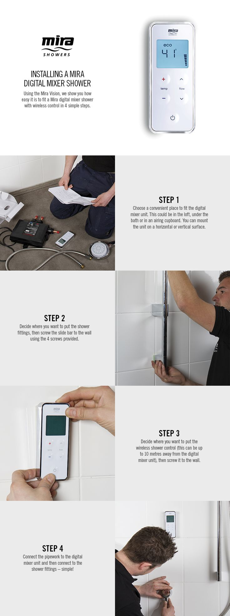 19 best digital showers images on pinterest digital showers see how easy it really is to install a mira digital shower with our pictorial step