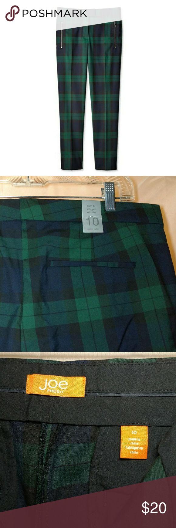 NWT Joe Fresh Slim Fit Pant Joe Fresh Slim Fit Pant / NWT, never worn / Black Watch Tartan / Zip Front Pockets / 65% Poly 33% Viscose 2% Spandex Joe Fresh Pants Trousers