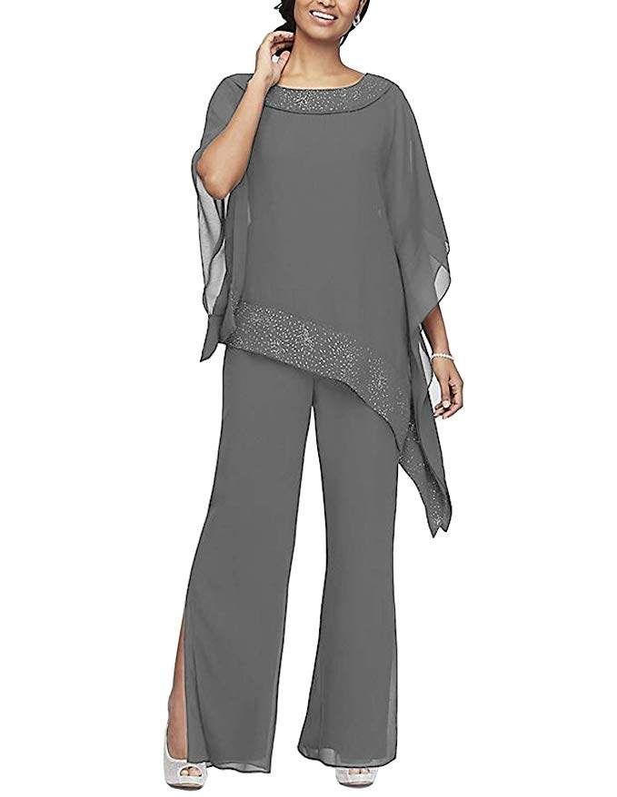 Elegante 3 Piezas Madre Pantalon Los Trajes De Novia Vestido De Gasa Chaqueta Madre De La Novia Vestidos De Talla Grande Vestidos Para La Madre De La Novia Ropa Fiesta Mujer