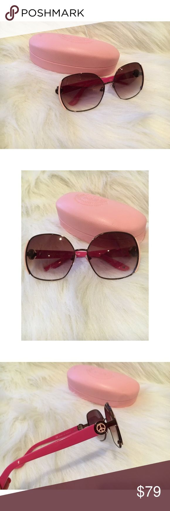 Juicy Couture Gradient Sunglasses Worn Once, Excellent Condition   Hot Pink sides, coupled with fantastic Brown Gradient lenses for a great look for any season. Peace signs on temple.   The frame is made from Metal, the lenses are made of tough and high-grade Polycarbonate.   * Lens Colour: Brown Gradient  * Frame Shape: Oval  * Frame Type: Semi Rimless  * Frame Material: Metal  * Lens Material: Polycarbonate  * Details:UV Protection   🔴No Trades🔴✅Bundle and Save ✅ Juicy Couture…