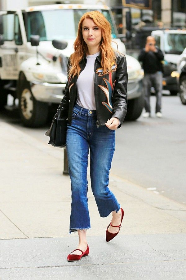 Emma Roberts embraces the rend of the fall with a pair of velvet flats.  The actress paired them with high waisted flared jeans a white tee and a statement Tory Burch jacket
