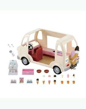 "Calico Critters Ice Cream Truck by Calico Critters. $34.95. Soft serve Ice Cream machine included. Ice Cream Truck measures 5.5"" x 10.5"" x 5.5"". Ages 3 and up. From the Manufacturer                Calico Critter families love when the Ice Cream Truck rolls into town! Set Includes ice cream machine,  ice cream cone holders, scoops of ice cream, waffle cups, waffle bowls, ice cream scooper, 2 spoons and a menu.  Critters not included.                                    ..."