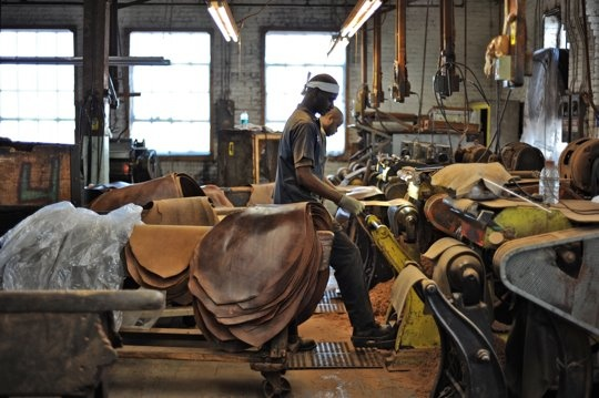 Inside Horween leather factory