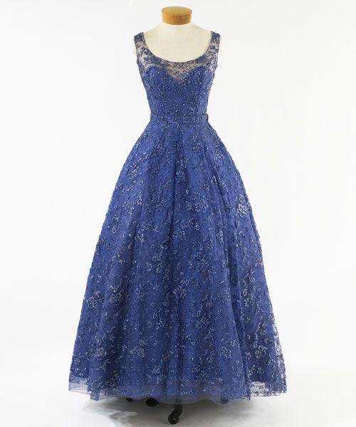 Blue tank strap, Scoop neck evening dress of lace re-embroidered with beads and sequins