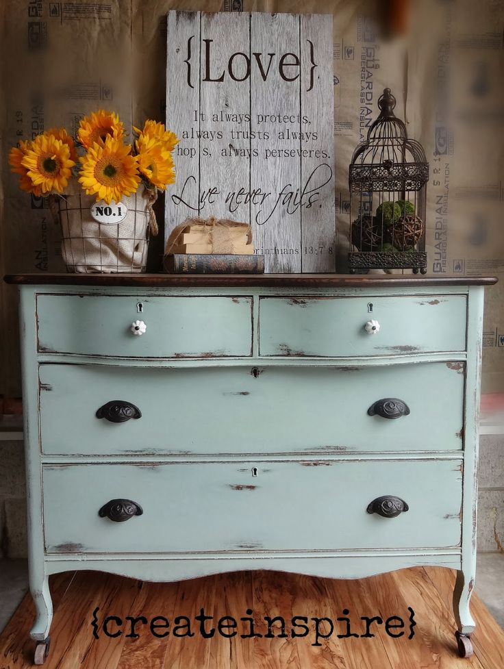 Why do I paint so often using vibrant colors when I'm so drawn to soft colors like this pretty Almost Duck Egg Dresser?