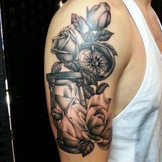 @legacyink #tattoo #blackandgrey #rose #compass #hourglass . Not the best photo but was fun to do.  Thanks Jorge :)