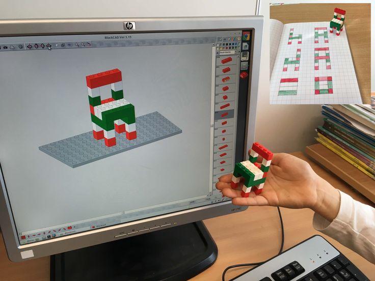 Progettazione con BlockCAD e costruzione della sedia con il Lego. Disegno da tutti i punti di vista.