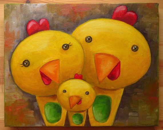 Chicken Family Portrait Original Art Animals Birds by MikiMayoShop