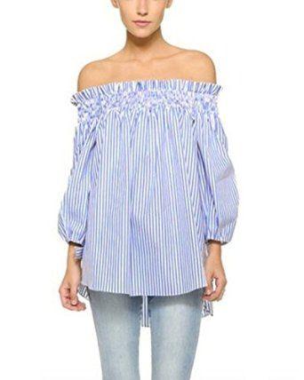ZANZEA Women's Plus Size Off shoulder 3/4 Sleeve Loose Long Tops Blouse Shirt at Amazon Women's Clothing store: