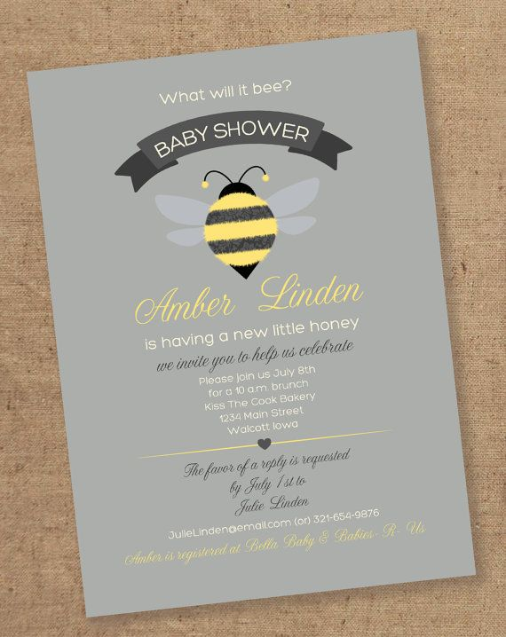 What will it BEE baby shower invitation  Printable by Gretchee, $15.00