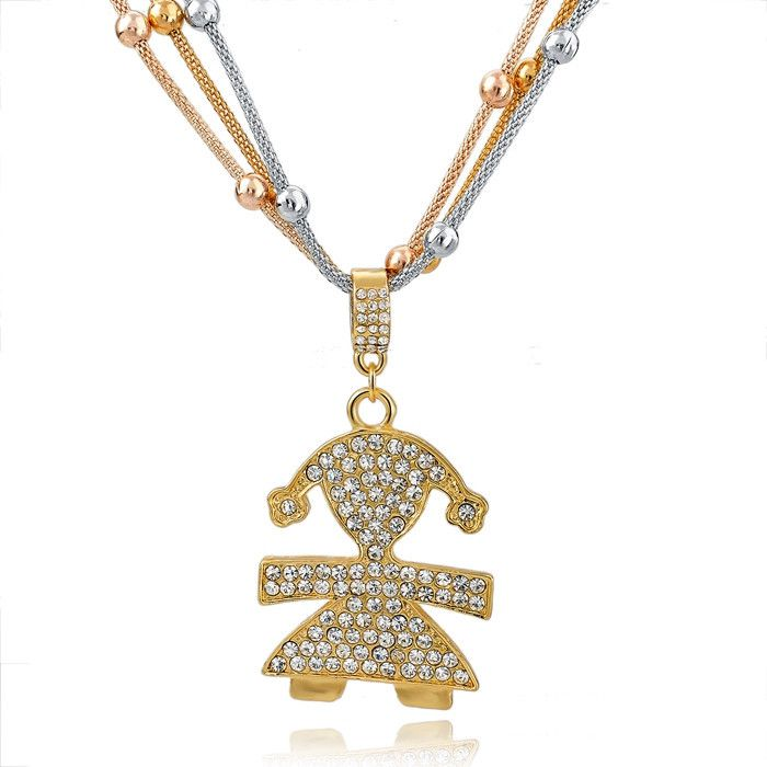 Crystal Gold Girl Pendant Long Necklace