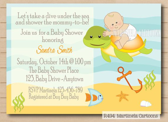 Under The Sea Baby Shower Invitation, Baby And Sea Turtle Invite. Print At  Home