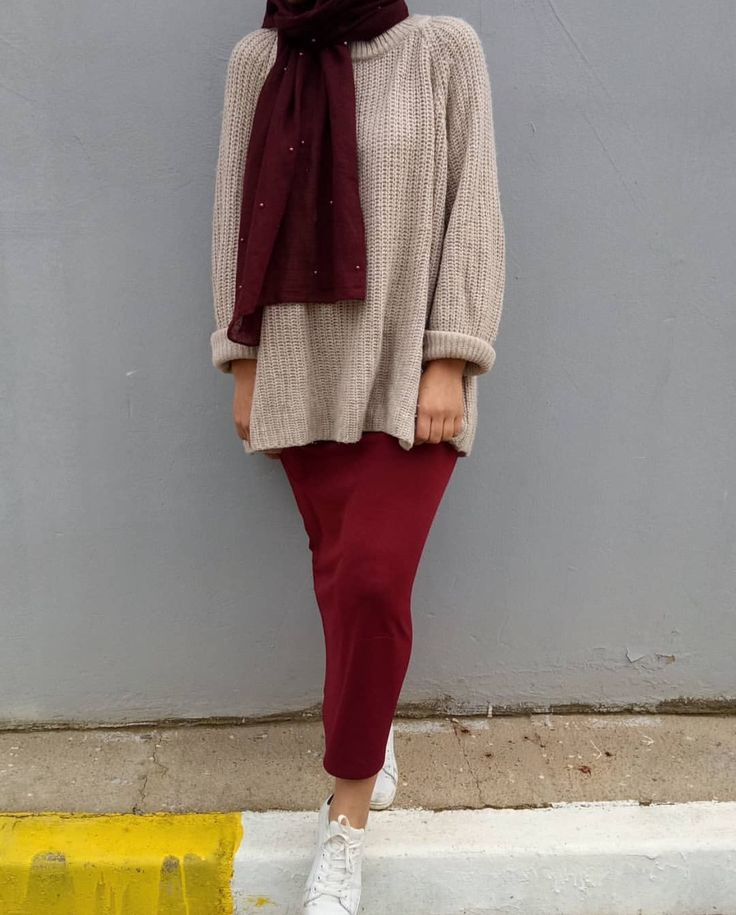 Maroon pencil maxi skirt, nude sweater , burgundy hijab and white sneakers