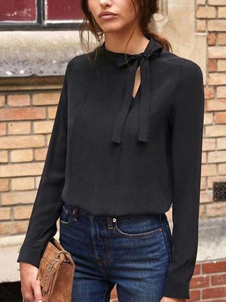 Collar Bow Long Sleeve T-Shirt 11