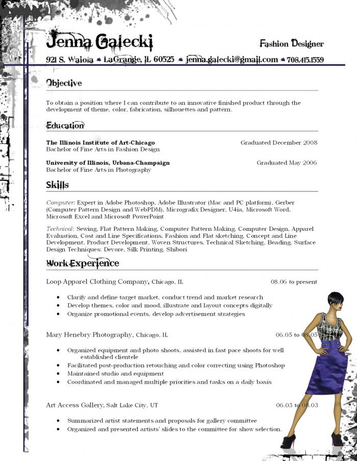 fashion resume - Fashion Design Resume Template
