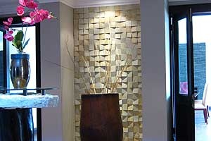 This feature wall in 3D #sandstone #cladding immediately offers a sense of urbanity and style. #UnionTiles