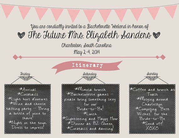 Pretty in Pink Bachelorette Party invite, with chalkboard itinerary. Customized for you and your bride! http://www.etsy.com/listing/179071038/pretty-in-pink-bachelorette-party?ref=shop_home_active_1