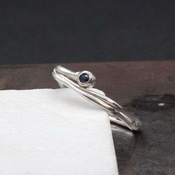 Square Band Blue Sapphire Ring Natural Sapphire by SunSanJewelry