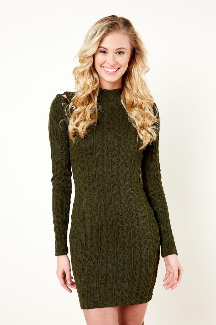 Fringe Feel The Connection Olive Green Sweater Dress at reddressboutique.com
