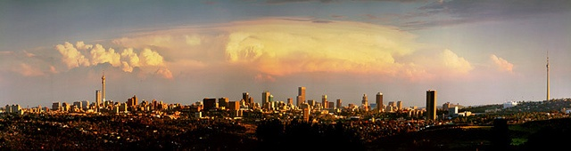 Johannesburg skyline with a thunderstorm brewing