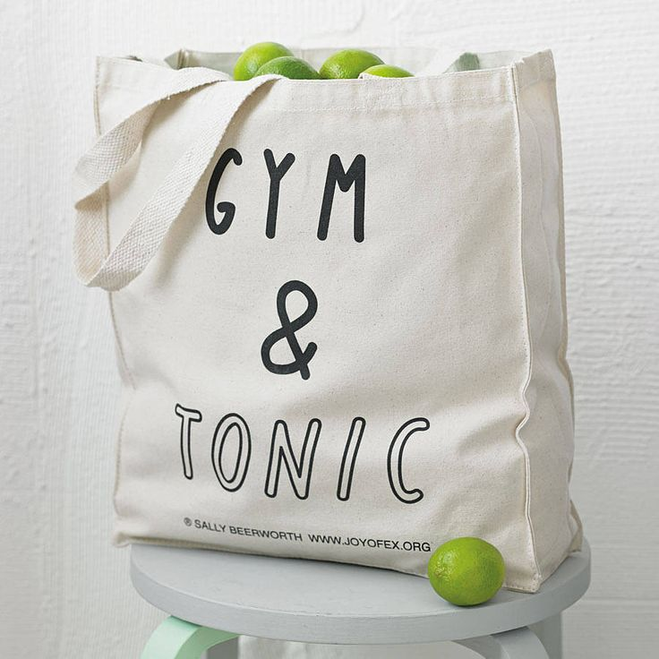 Love this 'gym and tonic' tote bag by the joy of ex foundation | notonthehighstreet.com