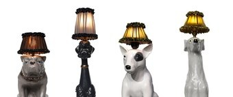 Dog lamps: Taffeta Lampshades, Lamps Exud, Terriers Lamps, Dogs Lamps