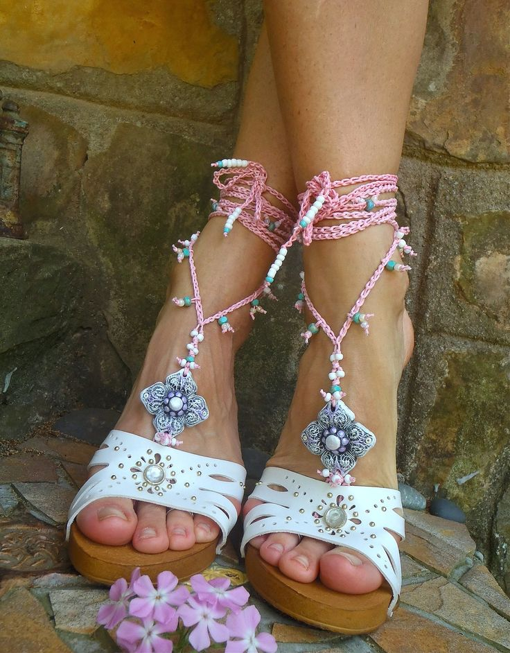 BRIDAL BAREFOOT sandals PINK Beach wedding kundalini Crochet sandals beaded foot jewelry Anklets made to order