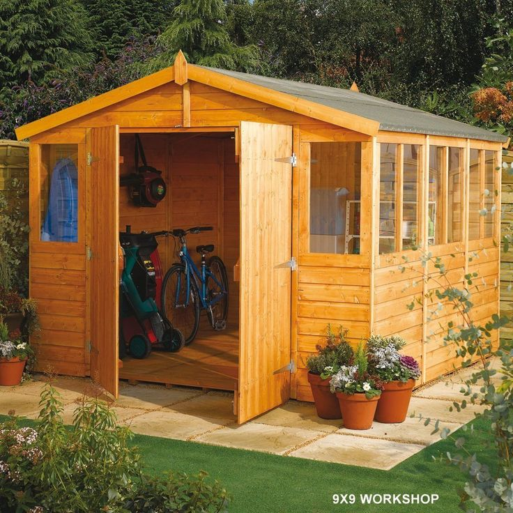 rowlinsons workshop range 9x9 shed amazoncouk garden outdoors